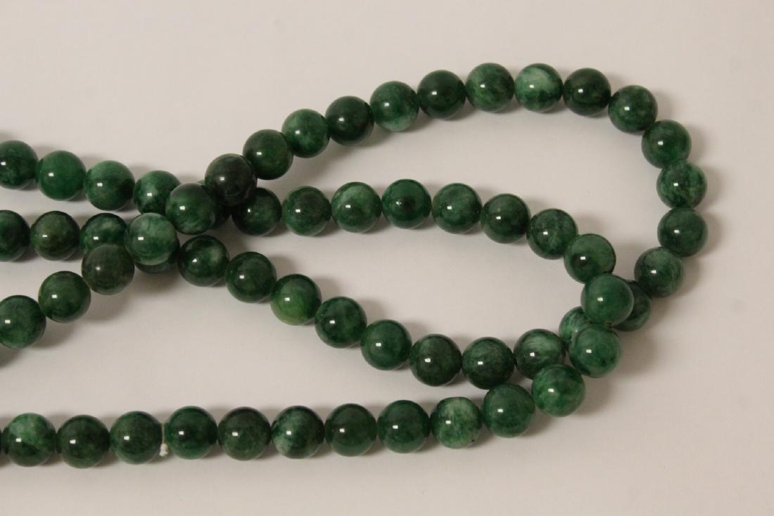 A long jade like stone bead necklace - 5