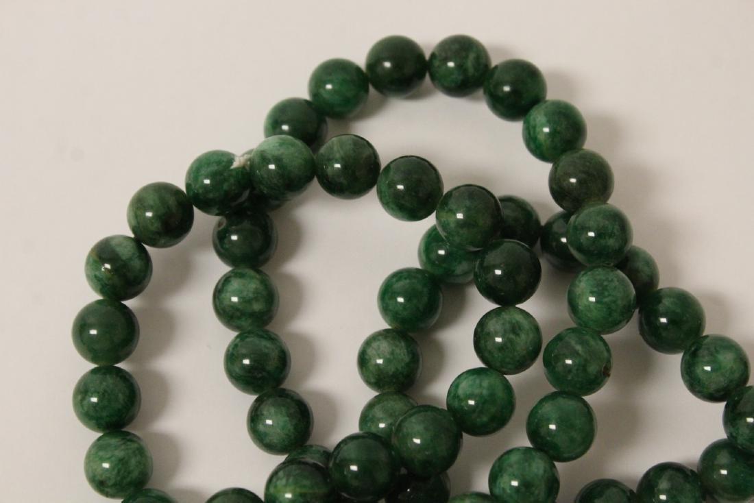 A long jade like stone bead necklace - 8