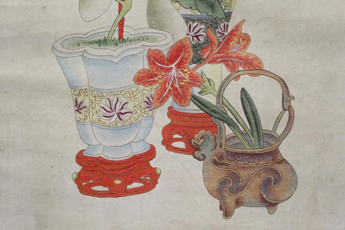 """Chinese watercolor scroll """"flowers and vase"""" - 10"""