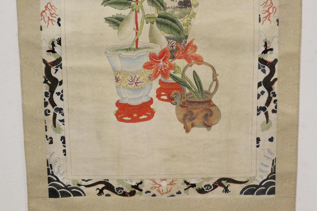 """Chinese watercolor scroll """"flowers and vase"""" - 5"""