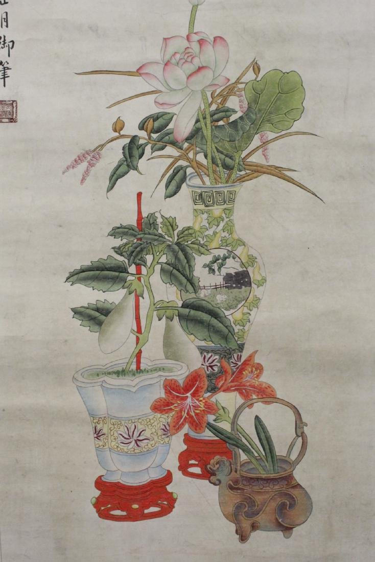 """Chinese watercolor scroll """"flowers and vase"""" - 6"""