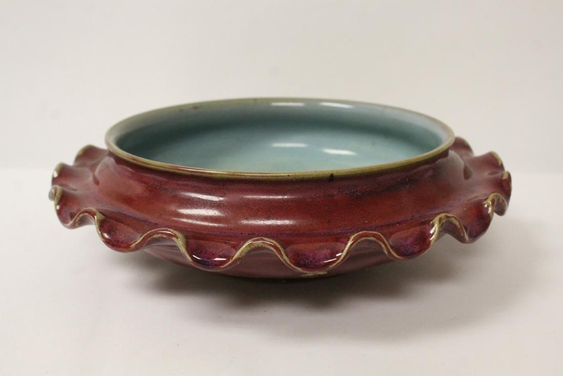 Chinese red glazed porcelain brush wash