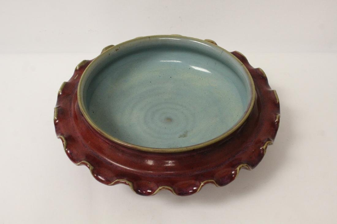 Chinese red glazed porcelain brush wash - 3