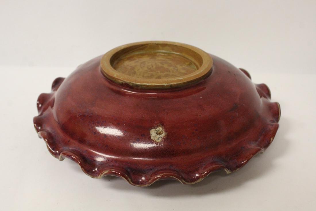 Chinese red glazed porcelain brush wash - 9