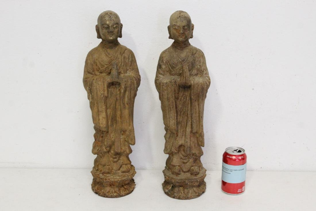 Pair Chinese cast iron Buddha