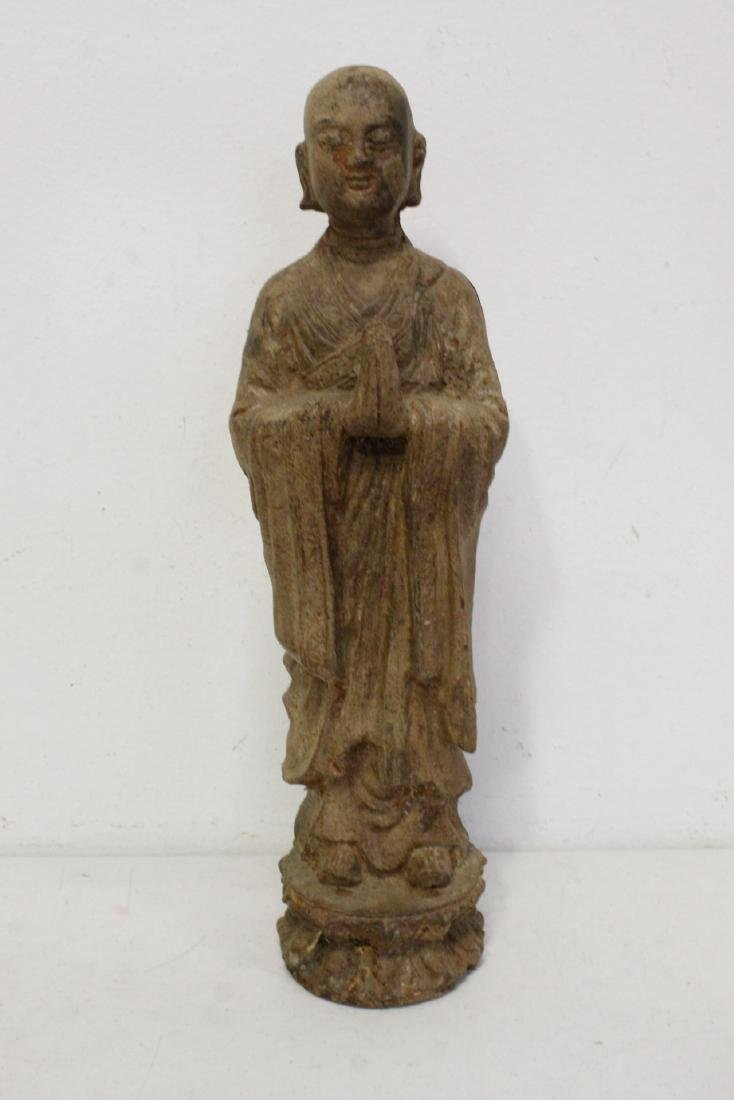 Pair Chinese cast iron Buddha - 2