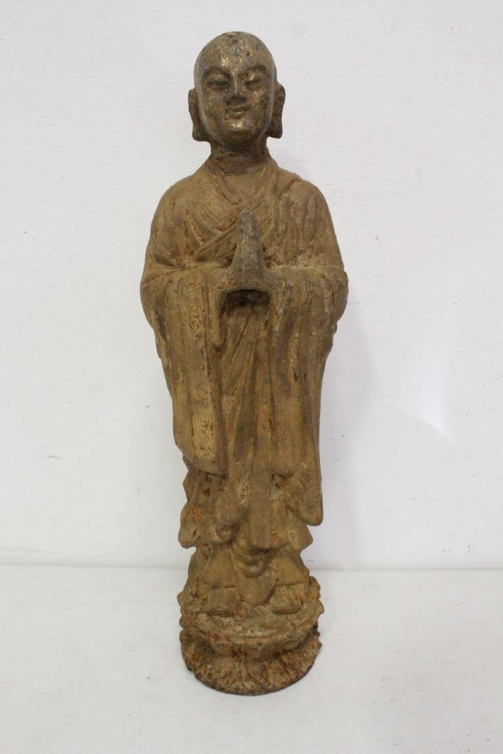 Pair Chinese cast iron Buddha - 6