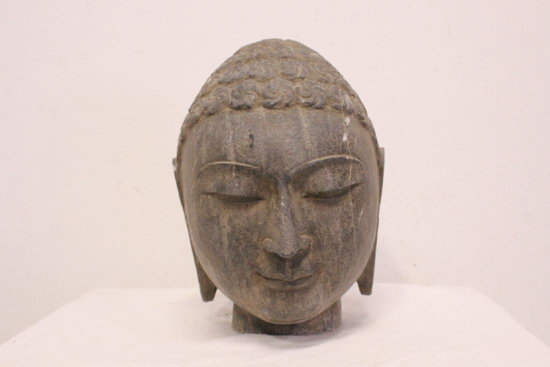Chinese stone carved Buddha head - 2