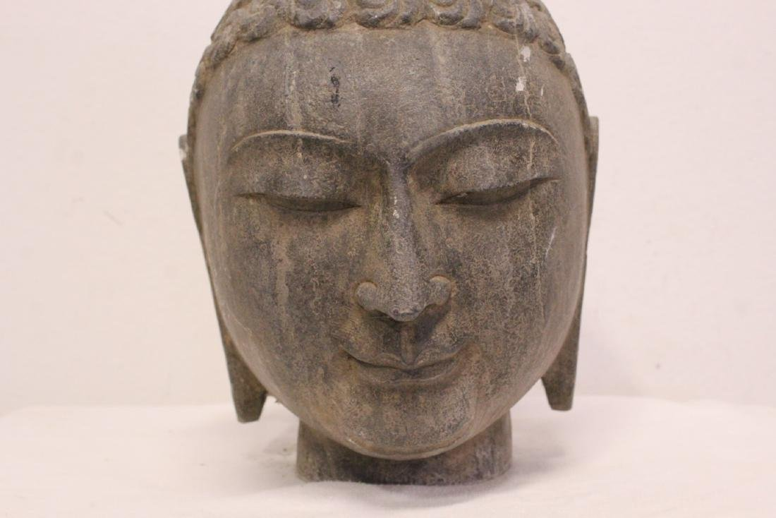 Chinese stone carved Buddha head - 3