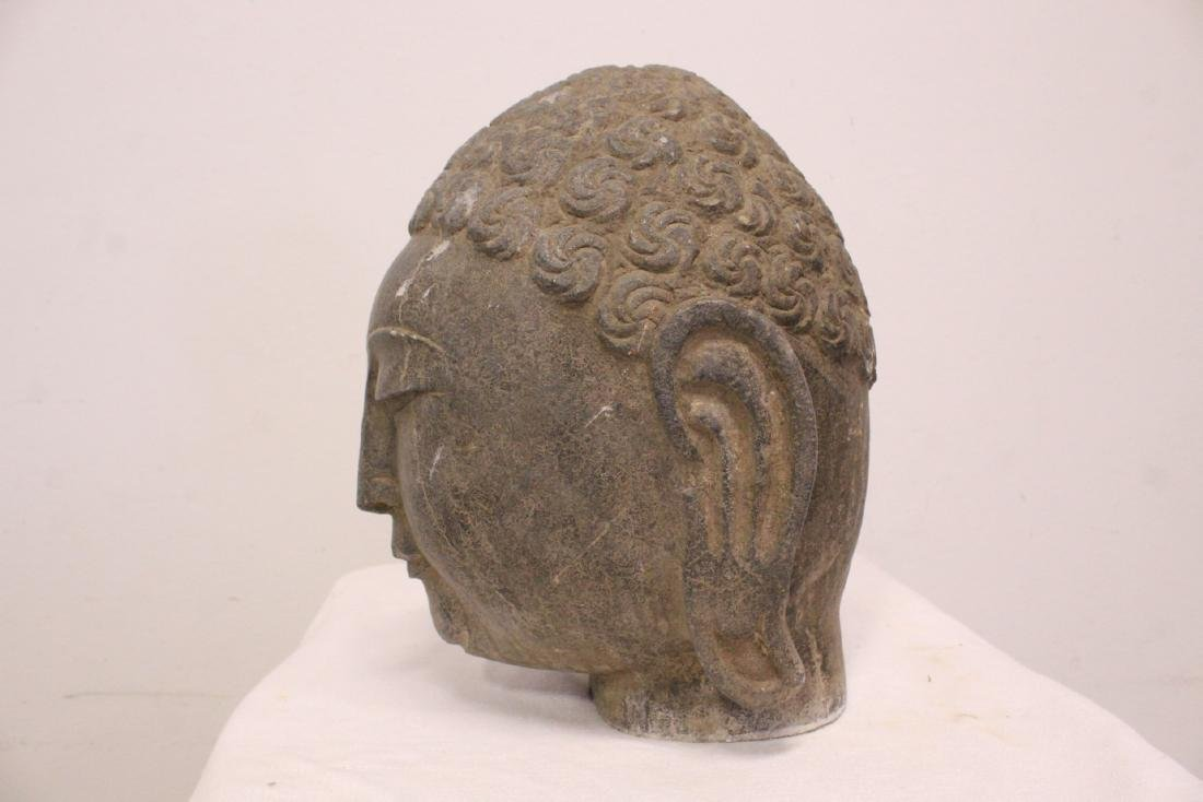 Chinese stone carved Buddha head - 5