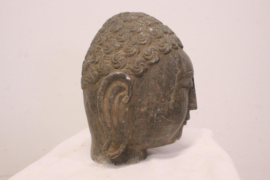 Chinese stone carved Buddha head - 9