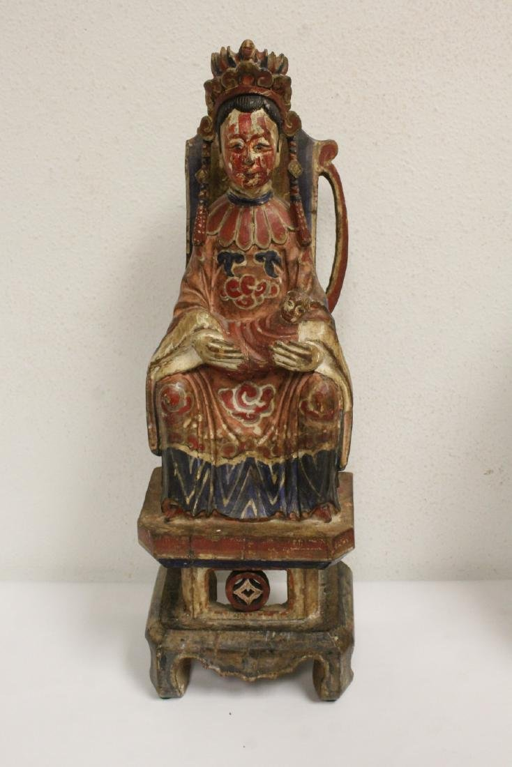 Pair Chinese wood carved deity - 10