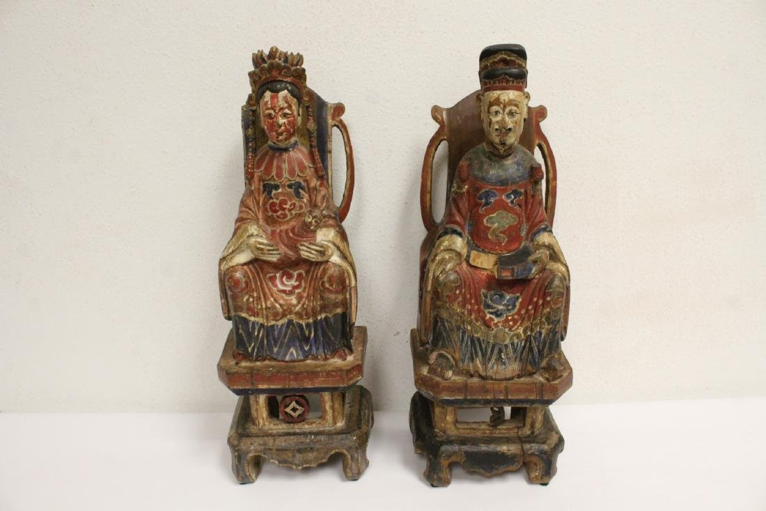 Pair Chinese wood carved deity
