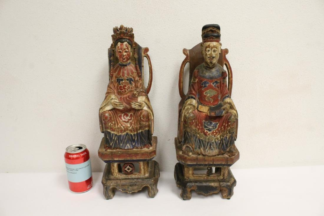 Pair Chinese wood carved deity - 2