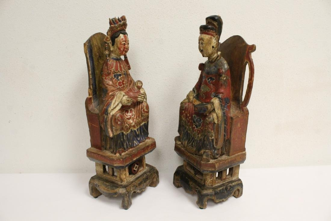 Pair Chinese wood carved deity - 3