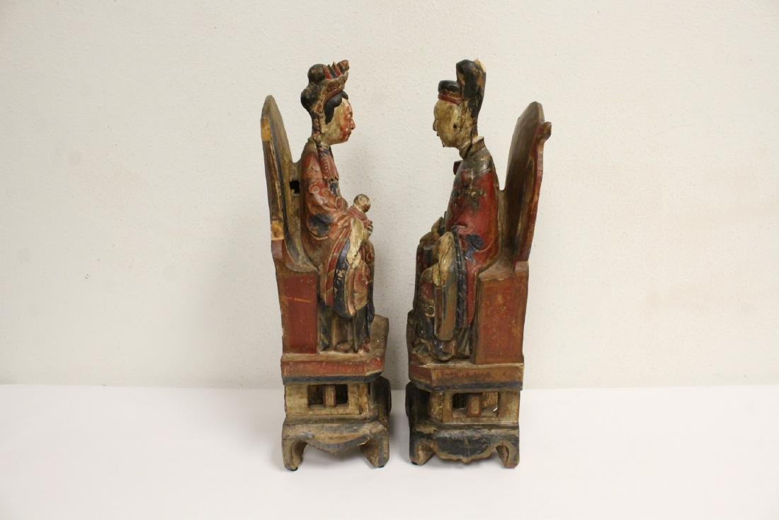 Pair Chinese wood carved deity - 4