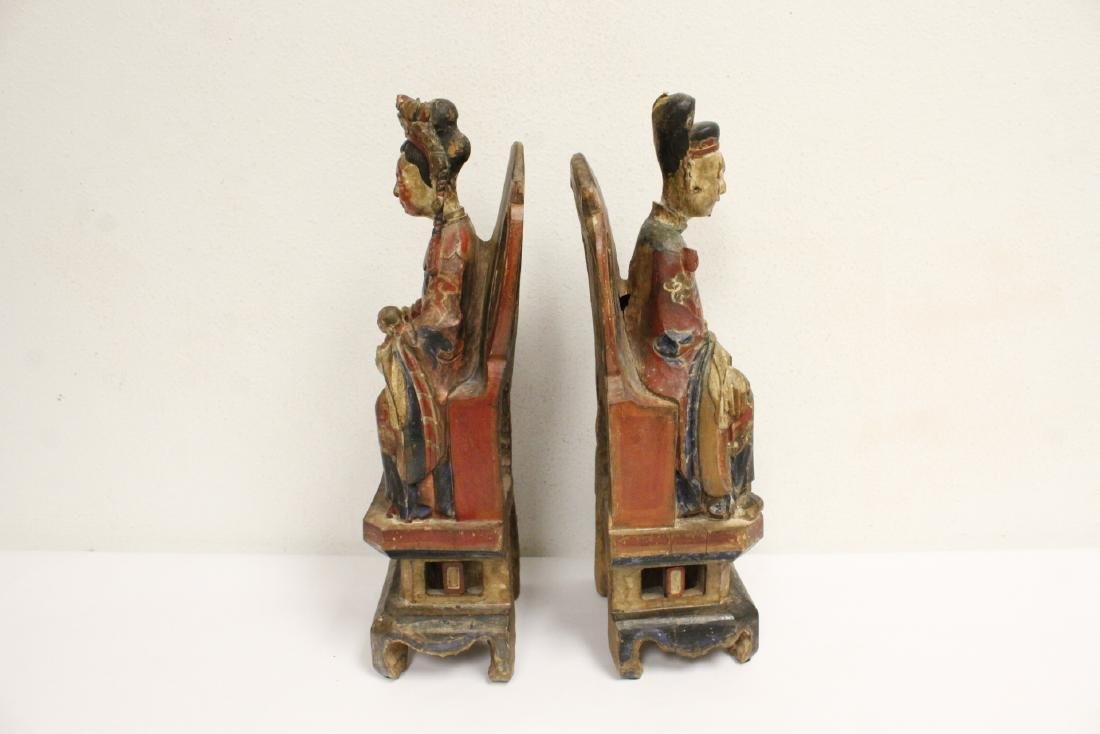 Pair Chinese wood carved deity - 6