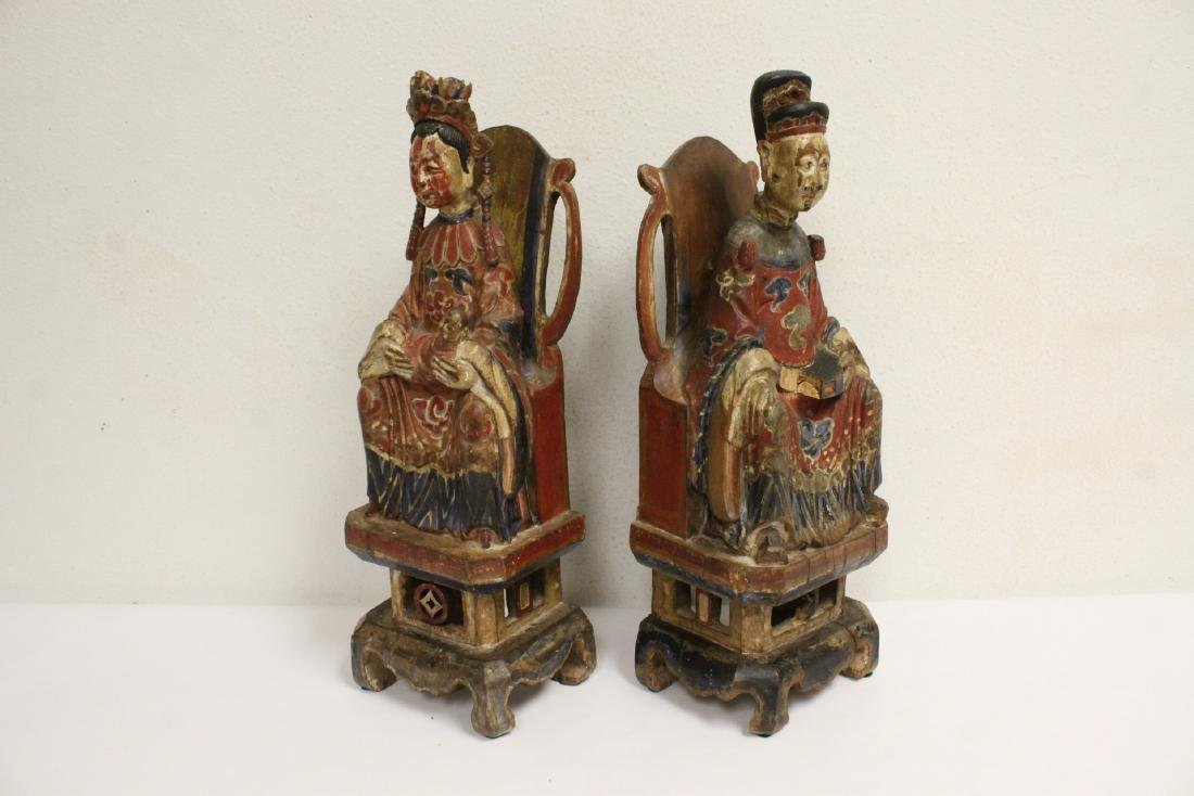 Pair Chinese wood carved deity - 7