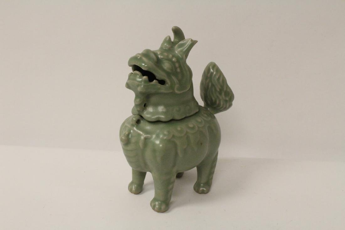 A fine Song style celadon censer in the form of qilin