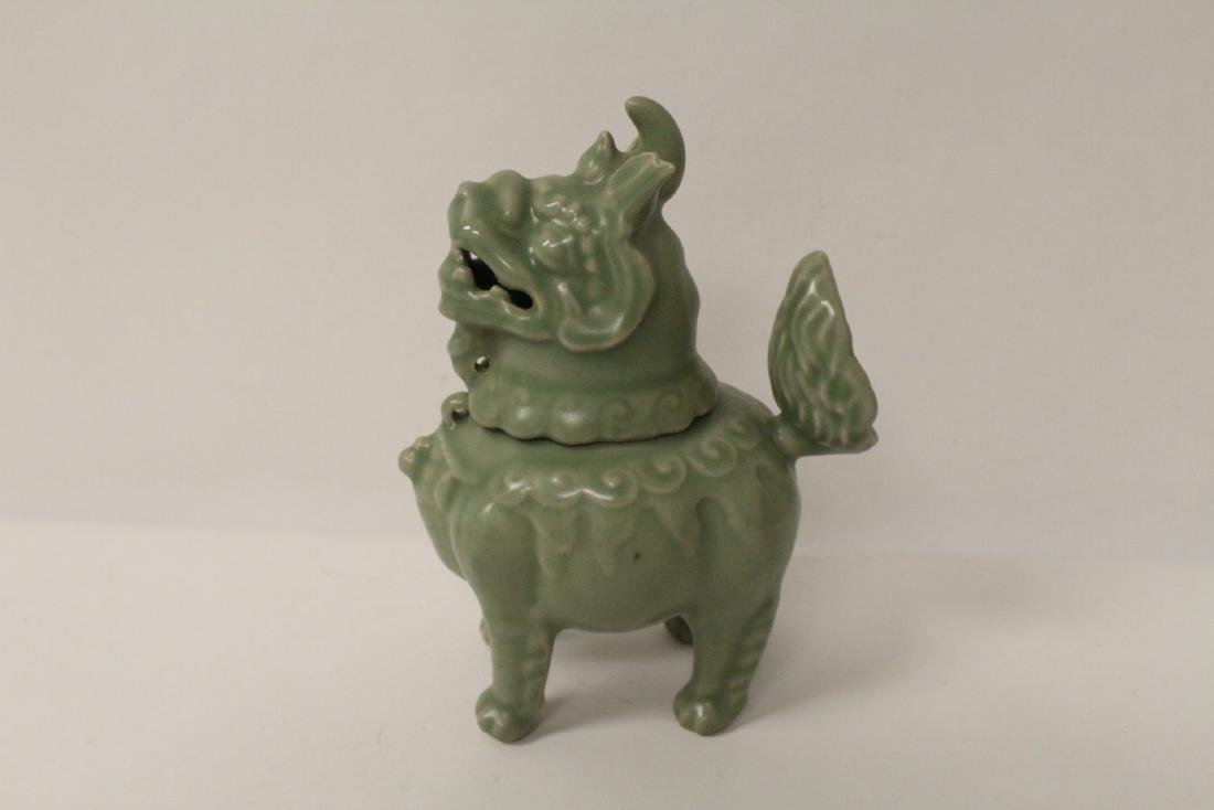A fine Song style celadon censer in the form of qilin - 7