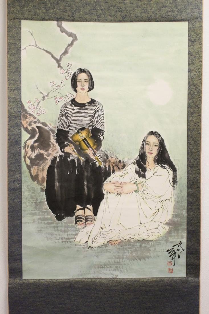 """Chinese watercolor scroll """"2 girls"""""""