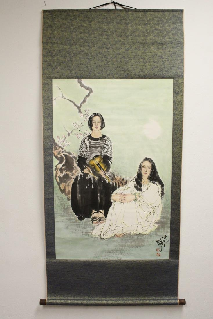 """Chinese watercolor scroll """"2 girls"""" - 2"""