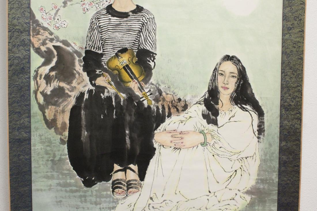"""Chinese watercolor scroll """"2 girls"""" - 4"""