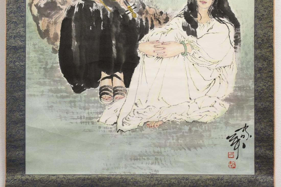 """Chinese watercolor scroll """"2 girls"""" - 5"""