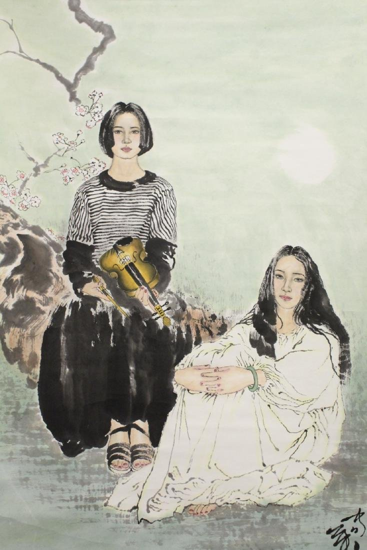 """Chinese watercolor scroll """"2 girls"""" - 8"""