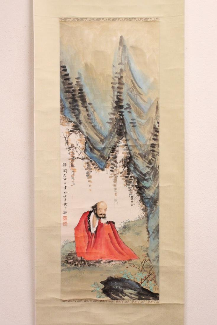 """Chinese watercolor scroll """"portrait of monk"""""""