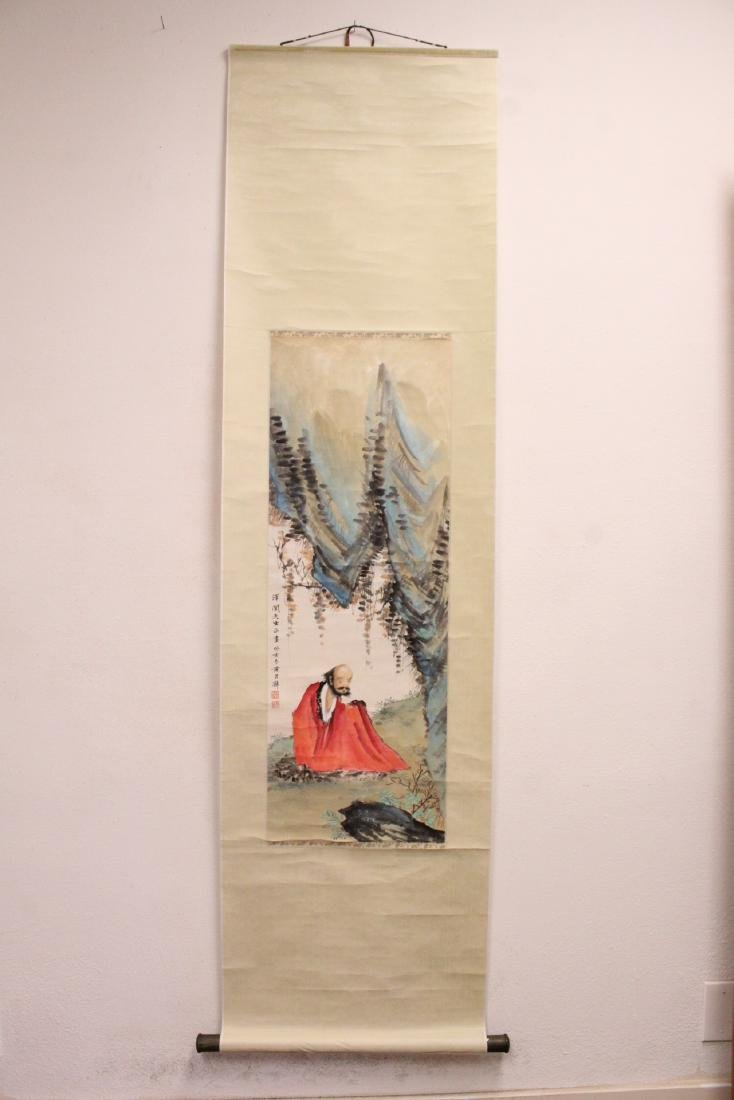"""Chinese watercolor scroll """"portrait of monk"""" - 2"""