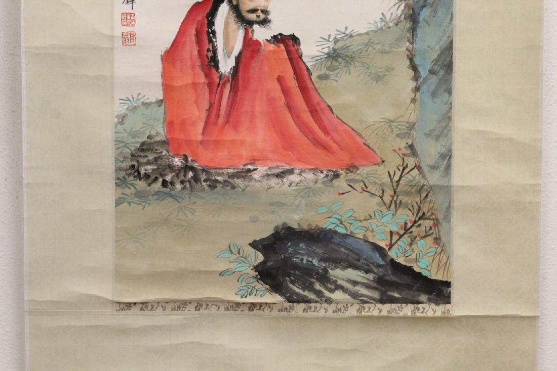 """Chinese watercolor scroll """"portrait of monk"""" - 6"""