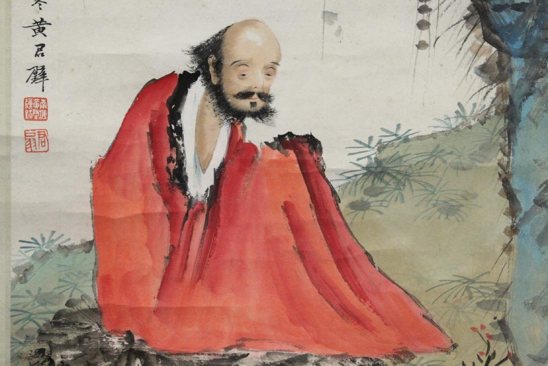 """Chinese watercolor scroll """"portrait of monk"""" - 7"""