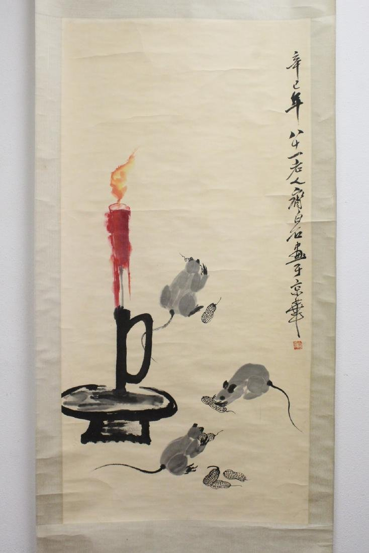 "Chinese watercolor scroll ""rats under candle"""