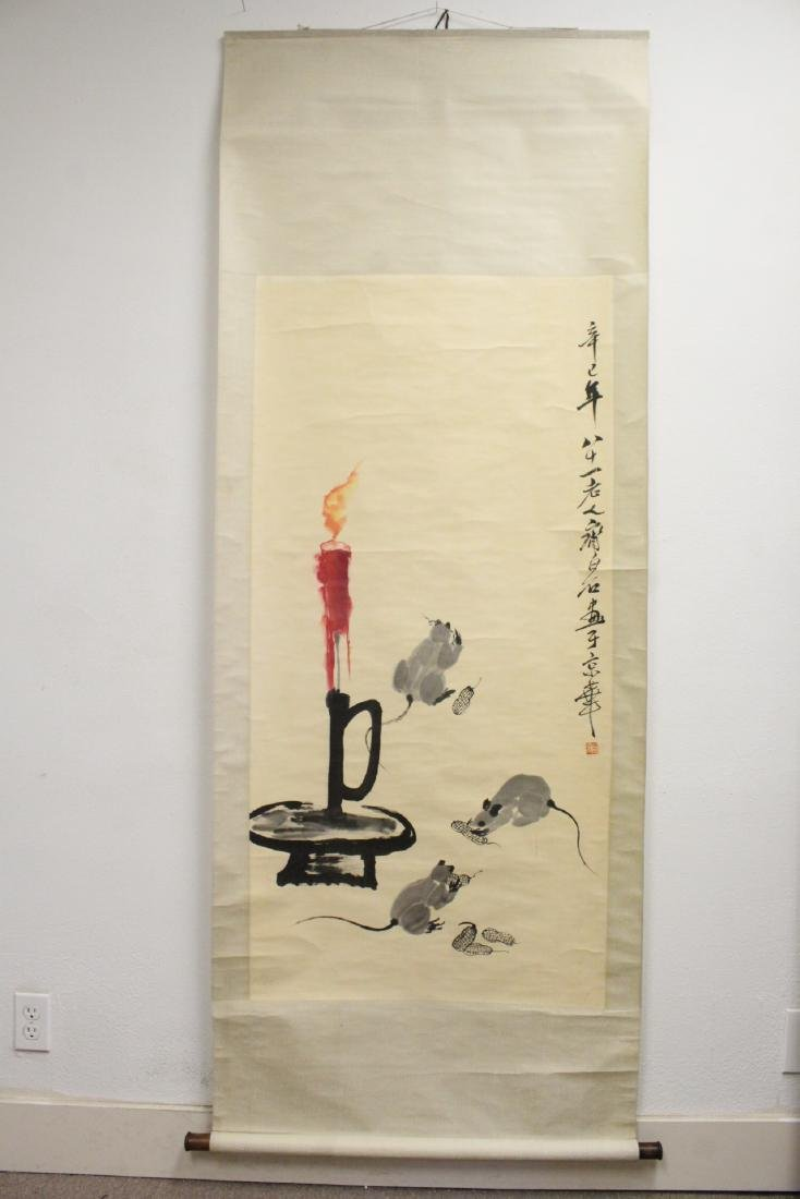 "Chinese watercolor scroll ""rats under candle"" - 2"