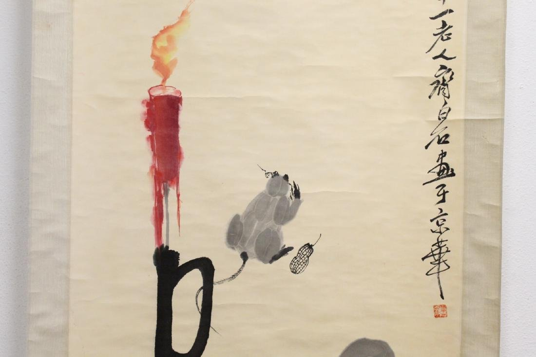 "Chinese watercolor scroll ""rats under candle"" - 4"