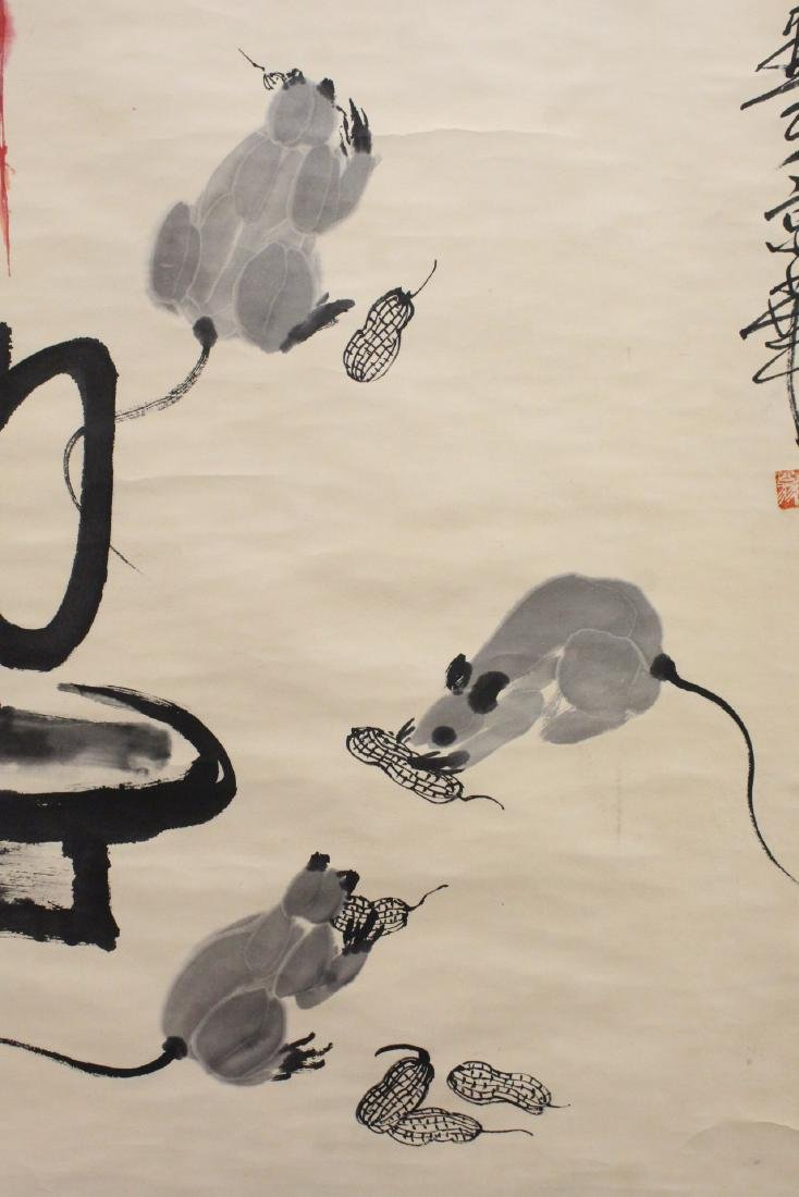 "Chinese watercolor scroll ""rats under candle"" - 8"