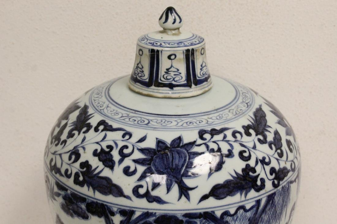 Large Chinese blue and white covered meiping - 4