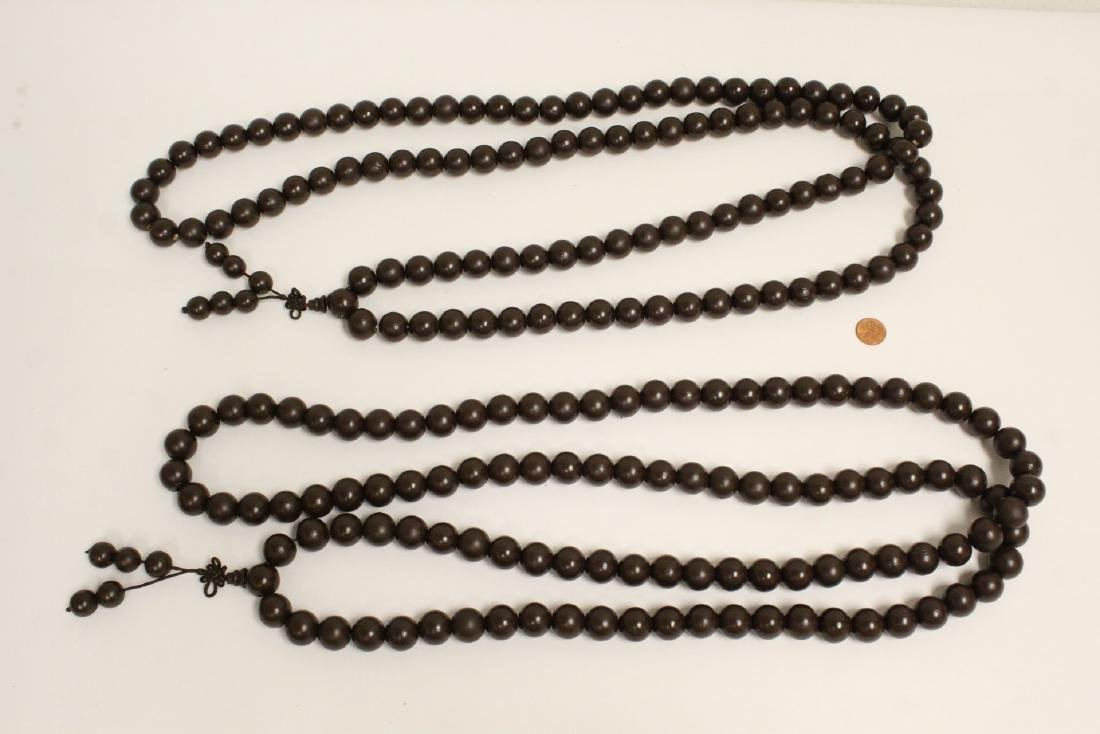 2 large wood bead and very long necklaces