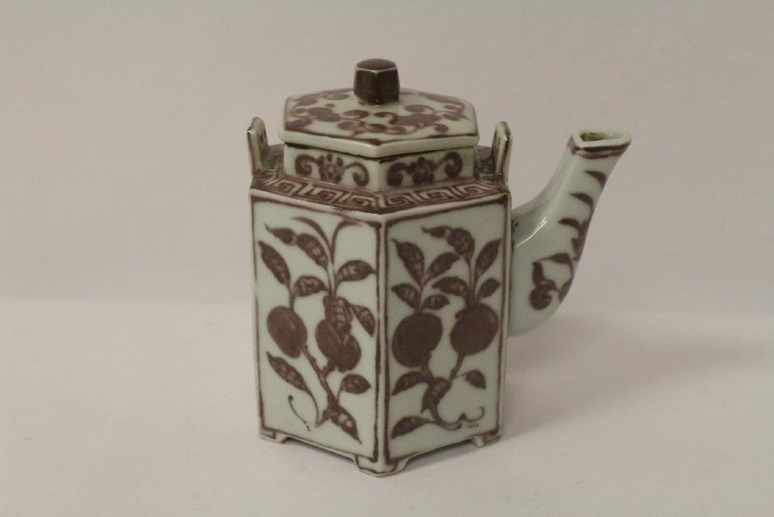 Chinese red and white porcelain teapot