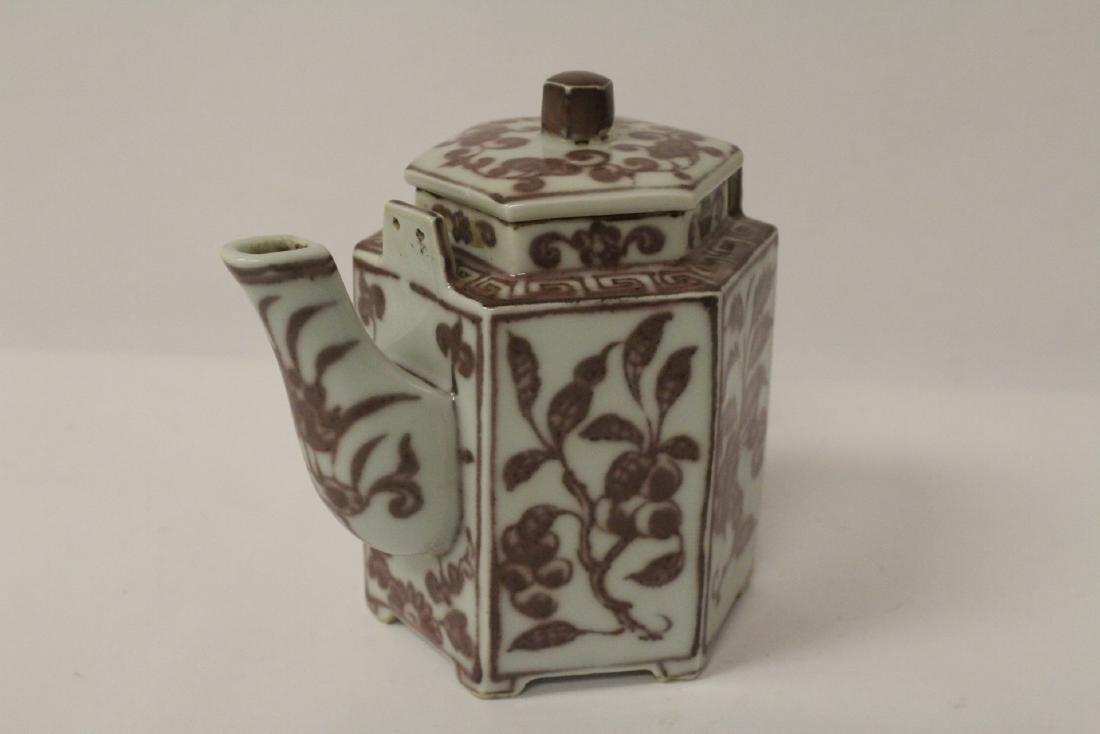 Chinese red and white porcelain teapot - 3