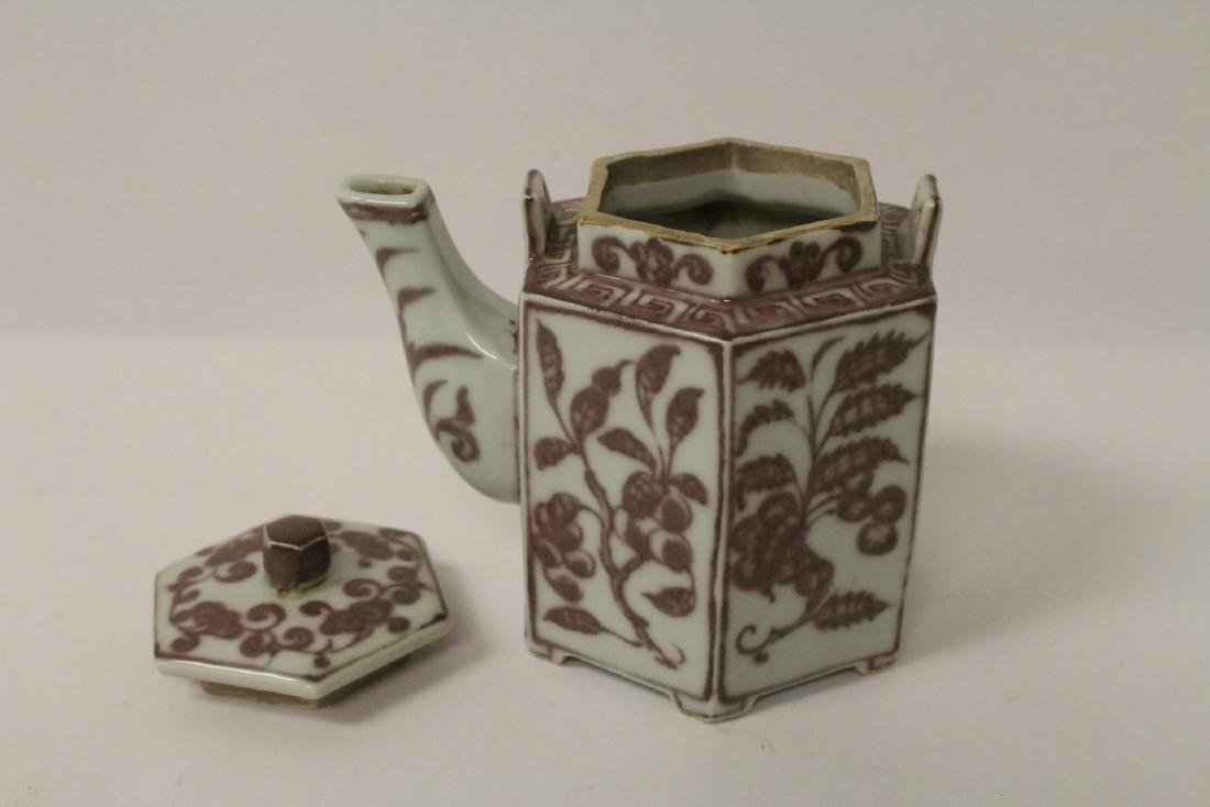 Chinese red and white porcelain teapot - 4