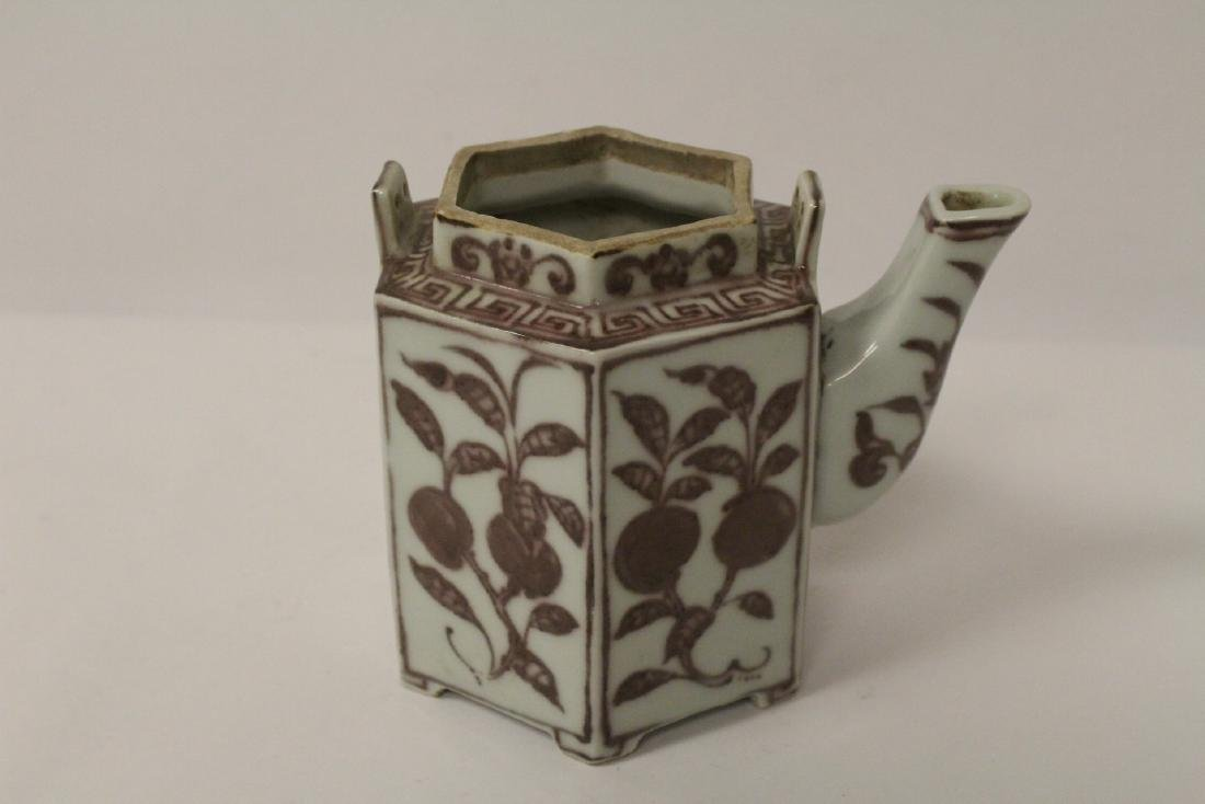 Chinese red and white porcelain teapot - 6