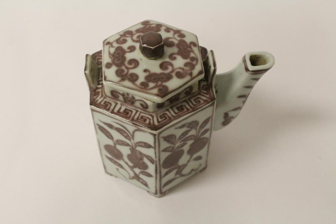 Chinese red and white porcelain teapot - 9