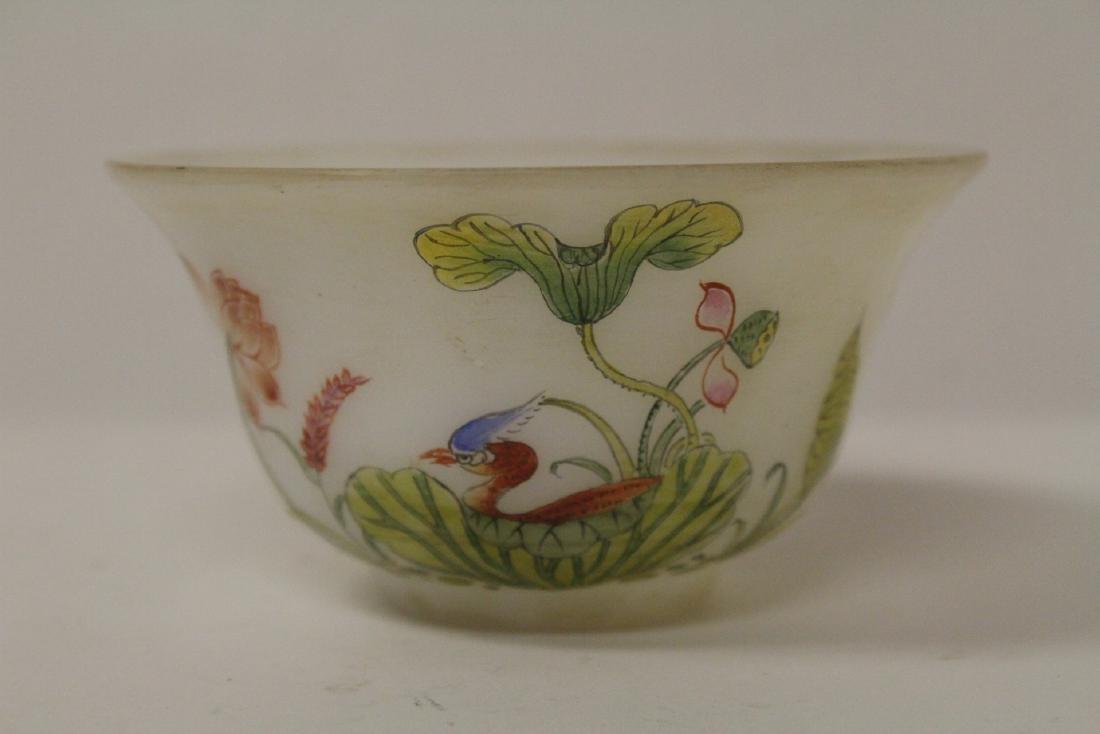 Chinese enamel on Peking glass bowl - 2