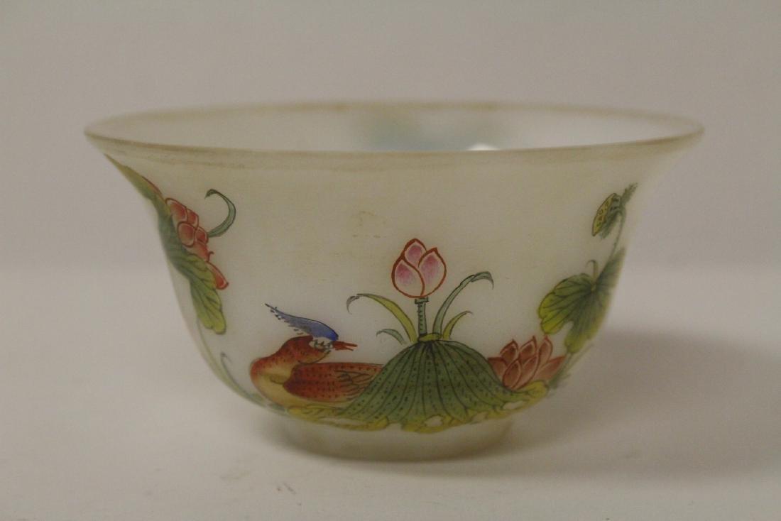 Chinese enamel on Peking glass bowl - 4