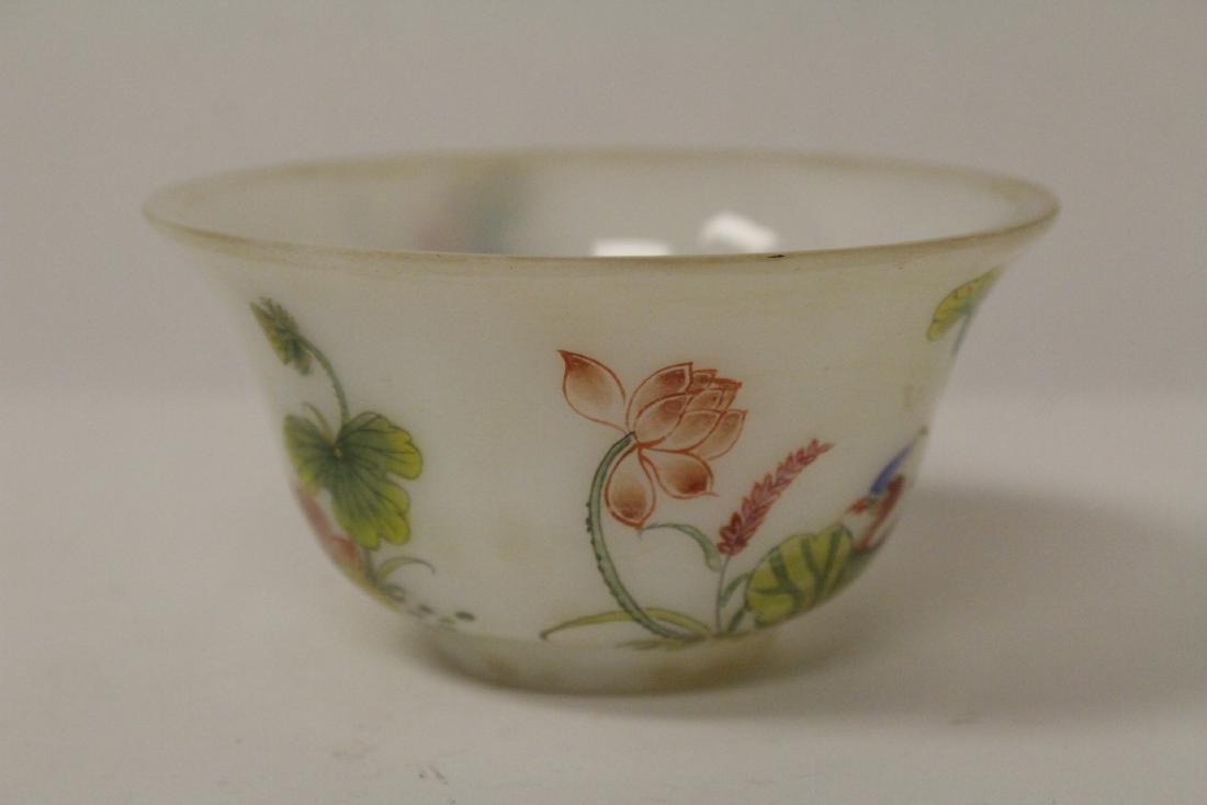 Chinese enamel on Peking glass bowl - 5