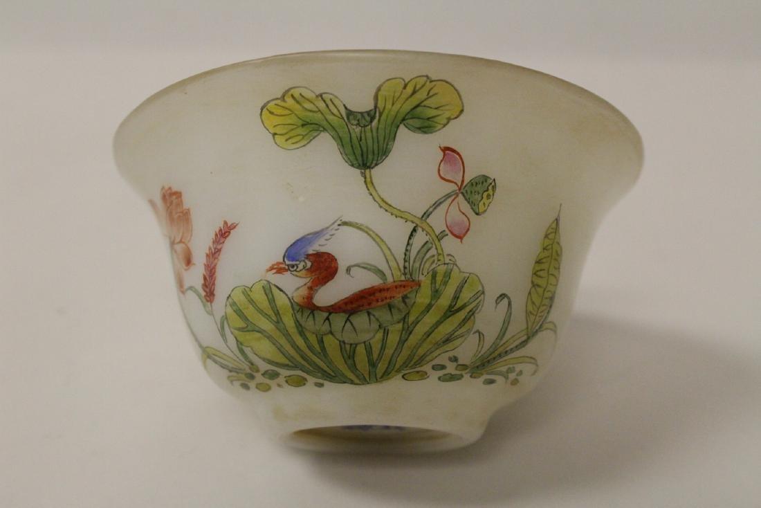 Chinese enamel on Peking glass bowl - 6