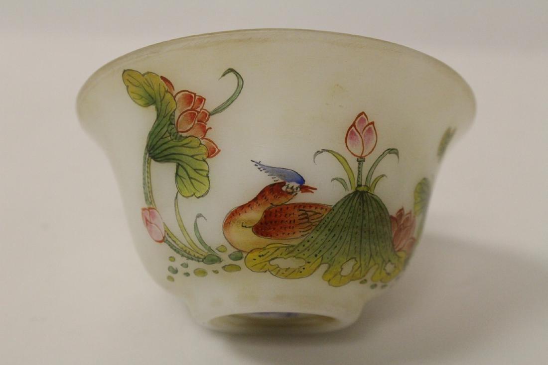 Chinese enamel on Peking glass bowl - 7