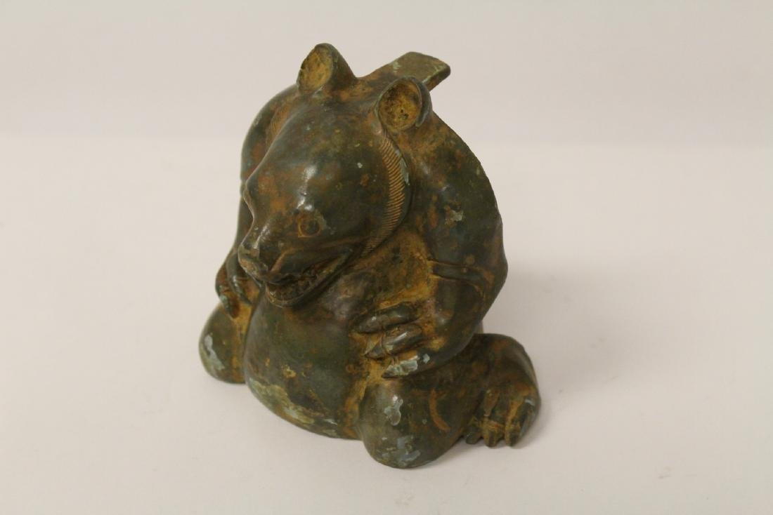 Unusual Chinese bronze censer in the form of beast - 3